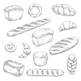 Retro bakery and pastry sketches Stock Photo