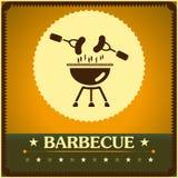 Retro bakgrund för meny för design för grillfestgalleraffisch Arkivbild