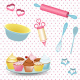 Retro baking background. Retro baking equipment and cupcakes on a polka dot background stock illustration