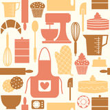 Retro Baking Background. Seamless pattern with kitchen utensils and baking items in retro style stock illustration