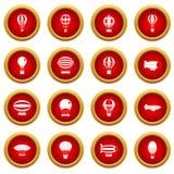 Retro balloons aircraft icon red circle set Royalty Free Stock Images