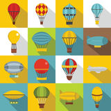 Retro balloons aircraft icons set, flat style. Retro balloons aircraft icons set. Flat illustration of 16 retro balloons aircraft vector icons for web Stock Images