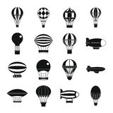 Retro balloons aircraft icons set, simple style Royalty Free Stock Photo