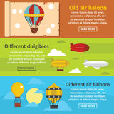 Retro balloons banner horizontal set, flat style Royalty Free Stock Images