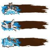 Retro bandiere hawaiane Grungy nei toni freddi Fotografia Stock Libera da Diritti