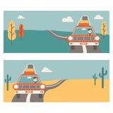 Retro baner over reis op de auto Stock Afbeelding