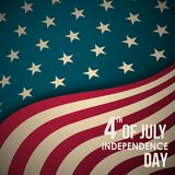 Retro banner with American flag and text. 4th of July Independence Day. Vector greeting background Stock Photography