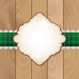 Retro banner on checkered tablecloth with lace Stock Images