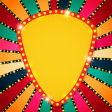 Retro banner on colorful shining background. Vector illustration Royalty Free Stock Photo