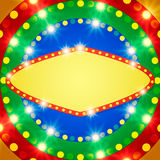 Retro banner on colorful shining background. Vector illustration Stock Photos