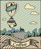 Retro banner with a cup of coffee Stock Image