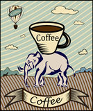 Retro banner with a cup of coffee Royalty Free Stock Images
