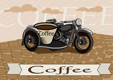 Retro banner with a cup of coffee and motorcycle Stock Images