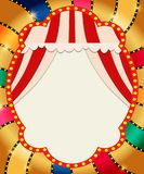 Retro banner with curtain on colorful shining background. Vector illustration Royalty Free Illustration
