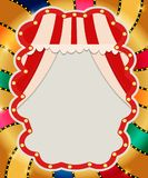 Retro banner with curtain on colorful shining background. Vector illustration Stock Illustration