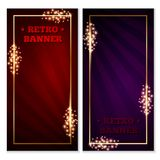 Retro banner frame. Set of retro old-school banner,flyer,ticket or voucher template,red and blue,with gold frame,sparkles and expanding rays on background Royalty Free Stock Photography