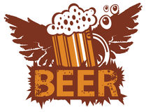 Retro banner with a glass of beer and wings Royalty Free Stock Images