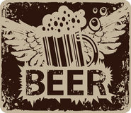 Retro banner with a glass of beer and wings Royalty Free Stock Image
