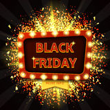 Retro banner with glowing lamps for Black friday Royalty Free Stock Image