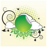 Retro Banner met Wolken Stock Afbeelding