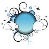 Retro Banner met Wolken Stock Illustratie