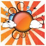 Retro Banner met Wolken Royalty-vrije Illustratie