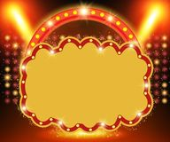 Retro banner on stage with spotlight effect background Vector Illustration