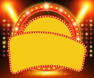 Retro banner on stage with spotlight effect background Royalty Free Illustration