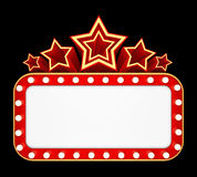 Retro banner with stars isolated on black background Royalty Free Stock Image