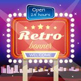 Retro Banner. Retro welcome 24 hours open club advertisement on night city skyline illuminated poster placard design abstract vector illustration Royalty Free Stock Image