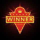 Retro banner of winner with glowing lamps. Royalty Free Stock Photos