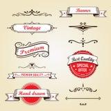Retro Banners en Etiketten Stock Foto's