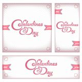 Retro banners and flyers for Valentines day Royalty Free Stock Photos