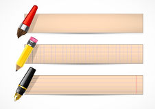 Retro banners with pen and pencil. On white background Royalty Free Stock Image