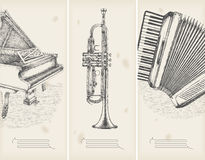 Retro banners-  piano, trumpet, accor Stock Photography