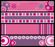 Retro Banners [Pink]. Four retro banners in pink tone. Three different versions (pink, blue and warm colors) in my portfolio Royalty Free Illustration