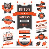 Retro banners. Set of labels and stickers.  Royalty Free Stock Photo