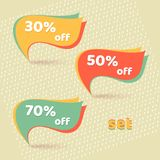 Retro banners with text 30% 50% 70% off Promotional discounts and promotions Template on light background for advertising Set vector illustration