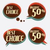 Retro bannersign/ad korting Vector illustratie Stock Afbeelding