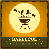 Retro barbecue grill poster design menu background.  Stock Photography