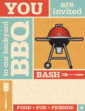 Retro Barbecue Invitation. Vintage style  invitation with grid pattern and grunge texture. Includes barbecue grill illustration Stock Images