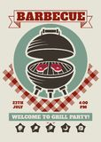 Retro barbecue party restaurant invitation template. BBQ cookout vector poster with classic charcoal grill. Cooking summer outdoor banner, cook weekend flyer vector illustration