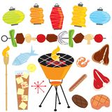 Retro Barbeque Party. With lanterns, tiki torch, food and drinks isolated on white royalty free illustration