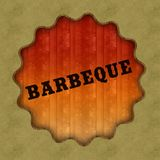 Retro BARBEQUE text on wood panel background. Retro BARBEQUE text on wood panel background, illustration vector illustration
