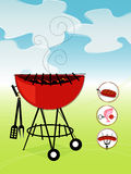 Retro Barbeque (vector). Stylized barbeque with green lawn and blue sky. Items are grouped so you can use them independently from the background. Includes a set vector illustration