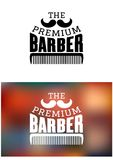 Retro barber shop emblem Stock Photos