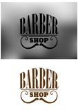 Retro barber shop emblem with mustache Royalty Free Stock Photo