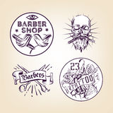 Retro barbers and tattoo salon  emblems, badges, signs, stickers layout. Old school style ink illustrations Royalty Free Stock Photo