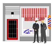 Retro barbershop concept. Well groomed  men standing in front of old style barbershop having a chat Stock Photography