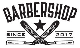 Retro Barbershop Logo. Vector design barbershop emblem with crossed straight razors Stock Photo